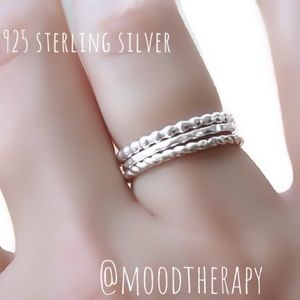 Set of 3 925SS Rings - Beaded, rope, & hammered